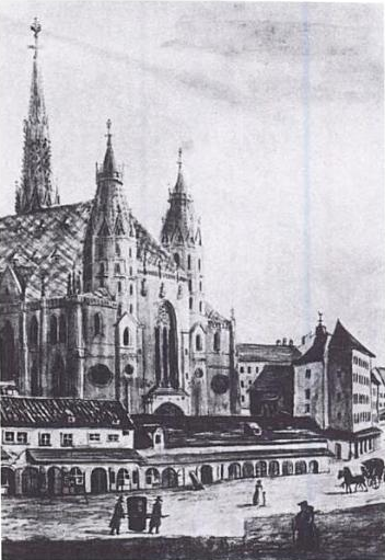 Figure 1. St. Stephen's Cathedral. In the foreground is the Kapellhaus (demolished 1804) where Haydn lived as a chorister.