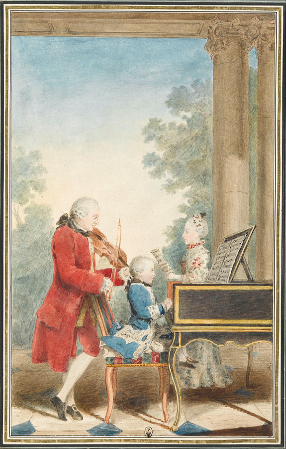 Figure 3. The Mozart family on tour: Leopold, Wolfgang, and Nannerl. Watercolor by Carmontelle, ca. 1763