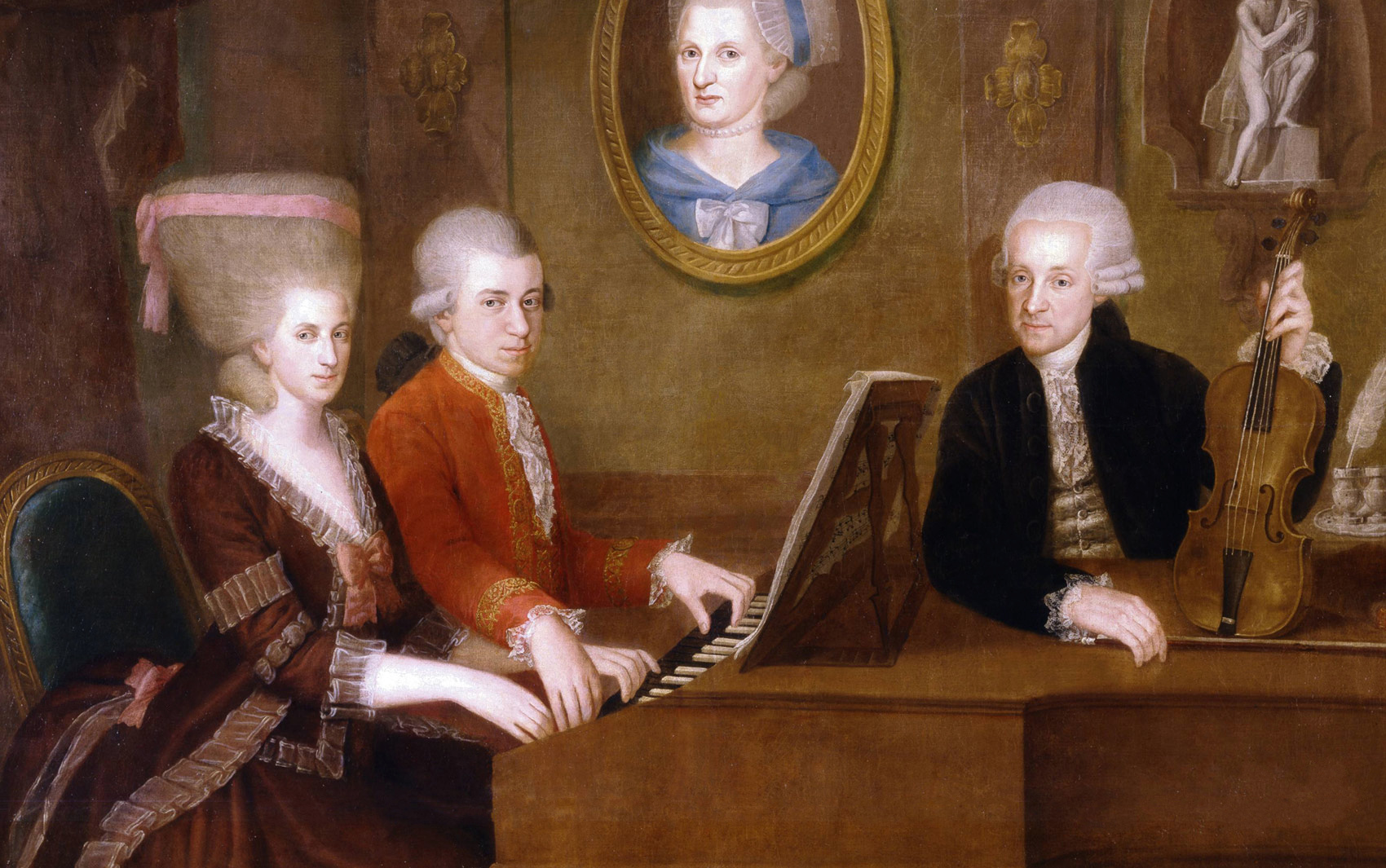 The Mozart family c. 1780. The portrait on the wall is