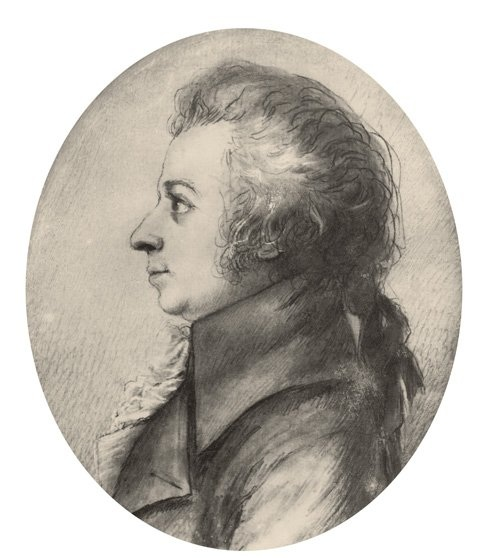 Figure 5. Drawing of Mozart in silverpoint, made by Dora Stock during Mozart's visit to Dresden, April 1789