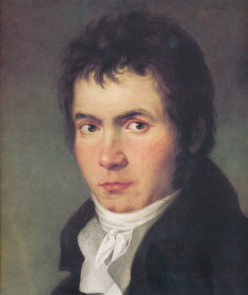 Fogure 3. Ludwig van Beethoven: detail of an 1804–05 portrait by Joseph Willibrord Mähler. The complete painting depicts Beethoven with a lyre-guitar