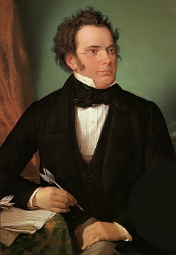 Fiugre 1. Oil painting of Franz Schubert by Wilhelm August Rieder (1875), made from his own 1825 watercolor portrait.
