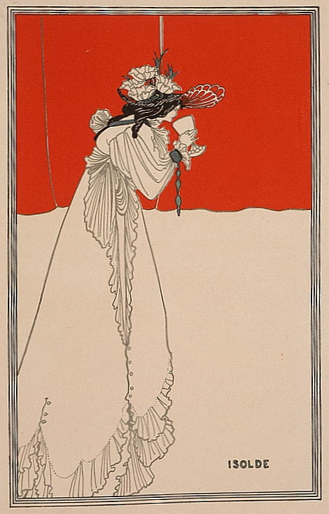 Figure 1. solde by Aubrey Beardsley, 1895 illustration for The Studio magazine of the tragic opera heroine drinking the love potion