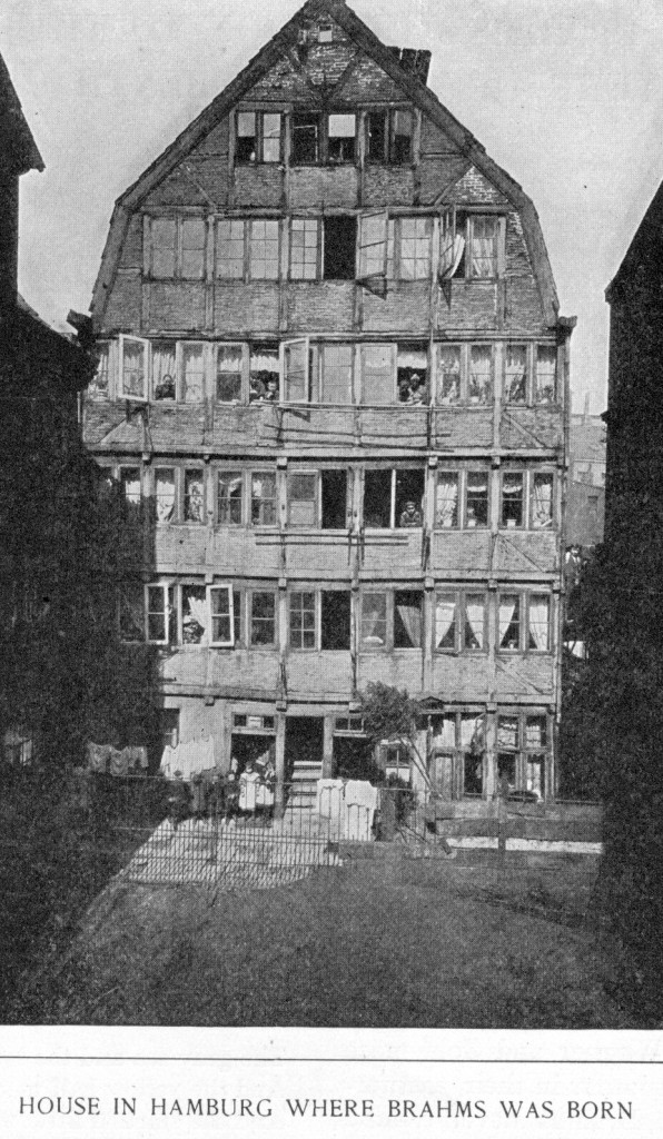 Figure 2. Photograph from 1891 of the building in Hamburg where Brahms was born. Brahms's family occupied part of the first floor (second floor to Americans), behind the two double windows on the left hand side. The building was destroyed by bombing in 1943.