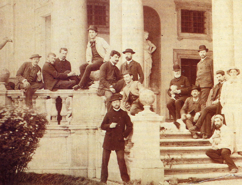 Figure 2. Debussy at the Villa Medici in Rome, 1885, at centre in the white jacket