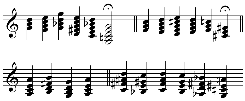 "Figure 3.Chords, featuring chromatically altered sevenths and ninths and progressing unconventionally, explored by Debussy in a ""celebrated conversation at the piano with his teacher Ernest Guiraud"""