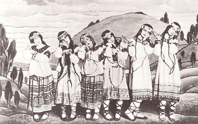 Figure 2. Dancers in Nicholas Roerich's original costumes. From left, Julitska, Marie Rambert, Jejerska, Boni, Boniecka, Faithful