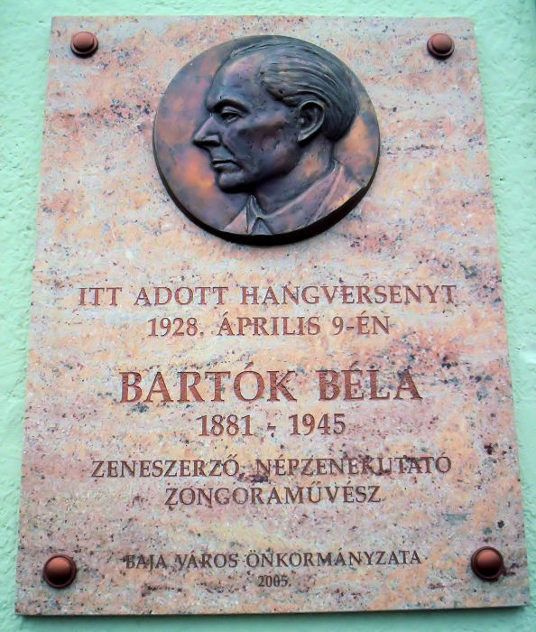 Figure 4. Béla Bartók memorial plaque in Baja, Hungary