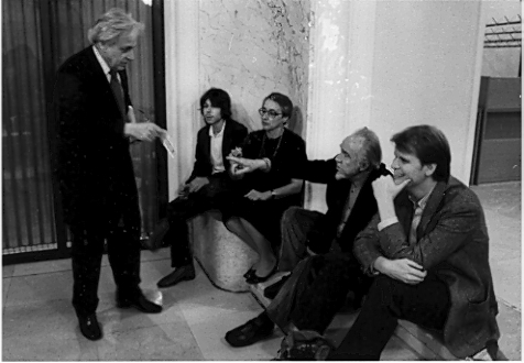 Figure 3. From left to right: György Ligeti, Lukas Ligeti, Vera Ligeti, Conlon Nancarrow, and Michael Daugherty at the ISCM World Music Days in Graz, Austria, 1982