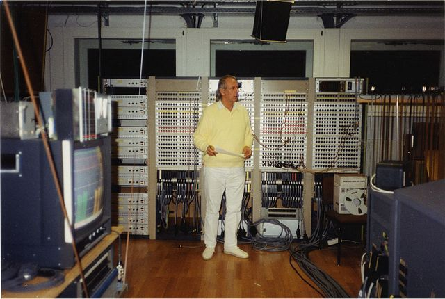 Figure 1. Karlheinz Stockhausen in the Electronic Music Studio of WDR, Cologne, in 1991