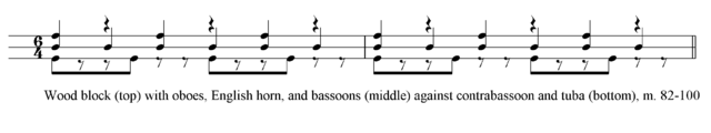 Example 4. Polyrhythmic dissonance at a later section