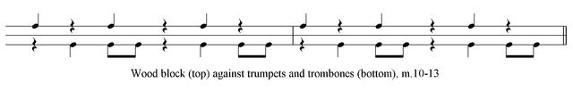 Example 2. Development of rhythmic dissonance