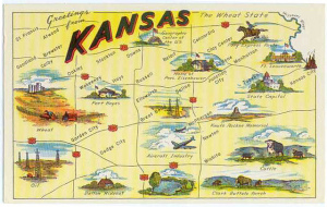 "Poster titled ""Kansas"" with hand-drawn images of landmarks noted across the state"