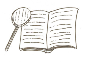 Handdrawn illustration of a book with a magnifying glass.
