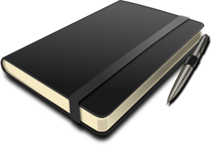 Vector graphic of a bound journal with pen