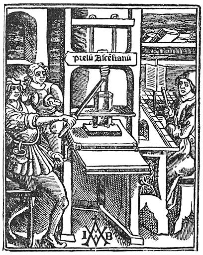 Illustration of a Medieval or Renaissance printing press