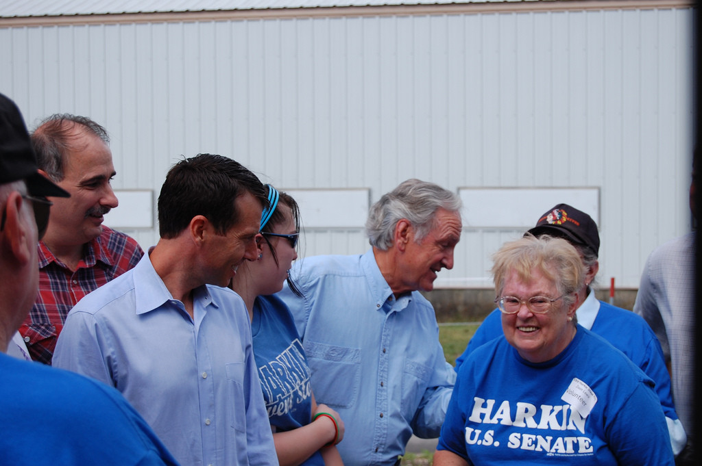 "Photo showing a group of campaign workers, wearing blue shirts that read ""Harkin, U.S. Senate."""