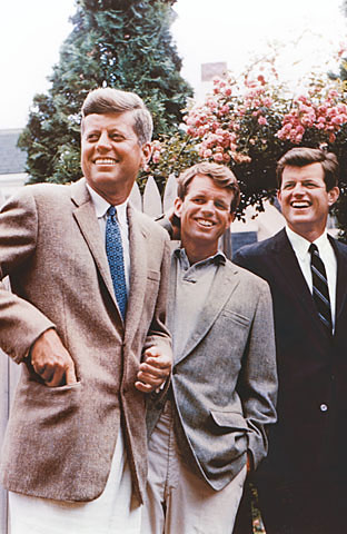 Photo of the Kennedy brothers; from left to right, John, Robert, Ted.