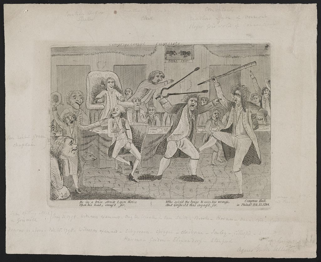 Newspaper cartoon showing a brawl between Federalists and Republicans.