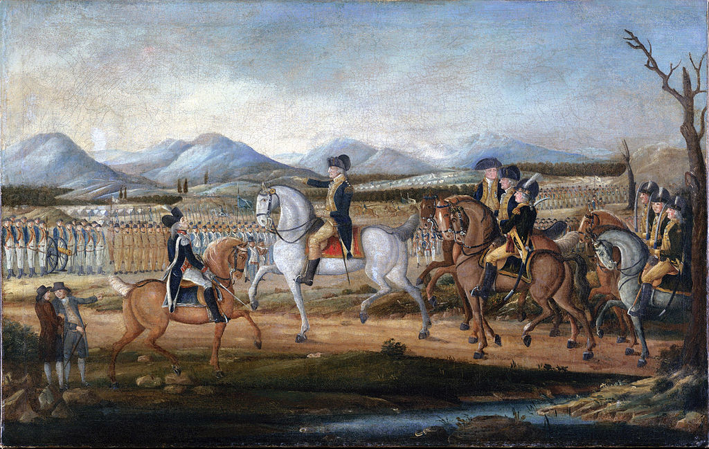 The painting depicts George Washington and his troops near Fort Cumberland, Maryland, before their march to suppress the Whiskey Rebellion in western Pennsylvania.