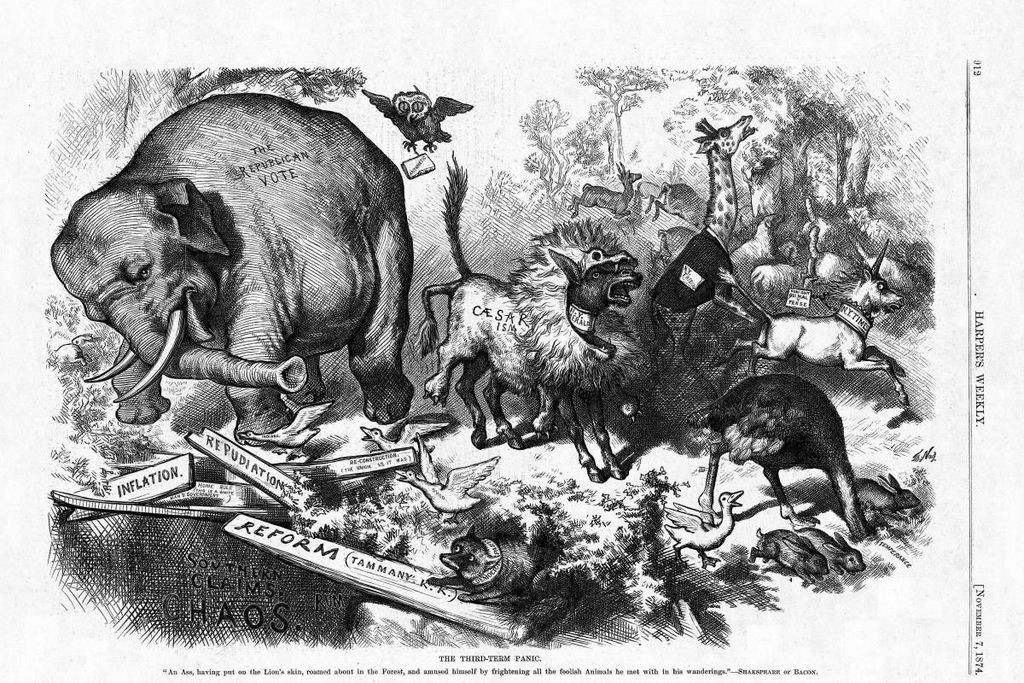 """The Third-Term Panic"", by Thomas Nast, originally published in Harper's Magazine 7 November 1874. Cartoon shows an elephant and donkey wreaking havoc."