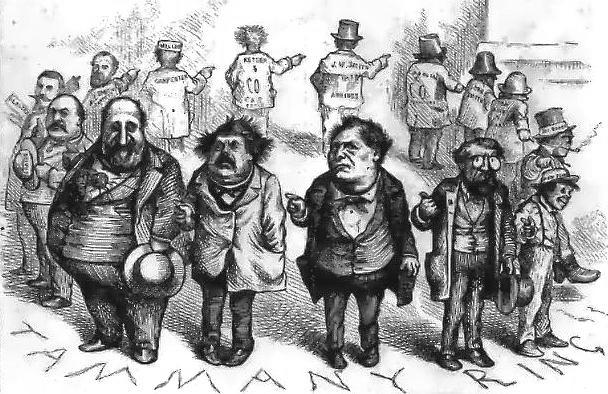 "Cartoon shows a ring of dour-faced men standing in a circle. Each man points to the man on his right, as if to say, ""He did it."""