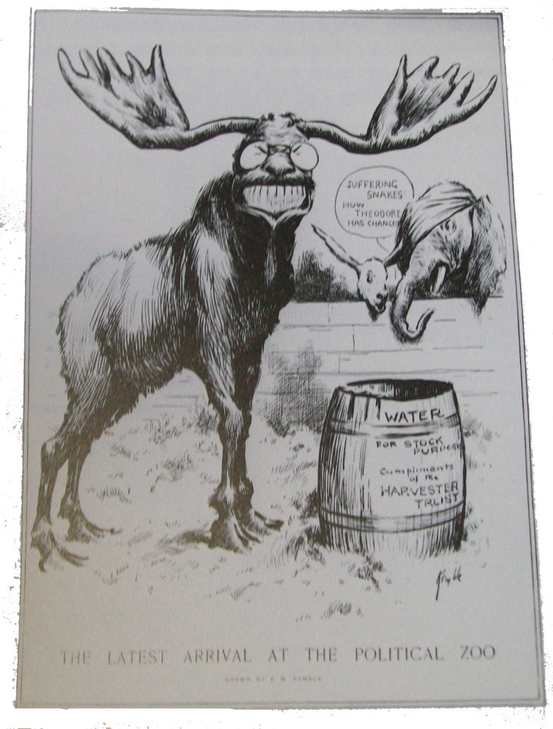 "A 1912 political cartoon about Theodore Roosevelt and the Progressive Party. It shows a moose with a large, toothy Roosevelt-like grin above the caption ""The latest arrival at the political zoo."" In the background a donkey and elephant peer over a wall."