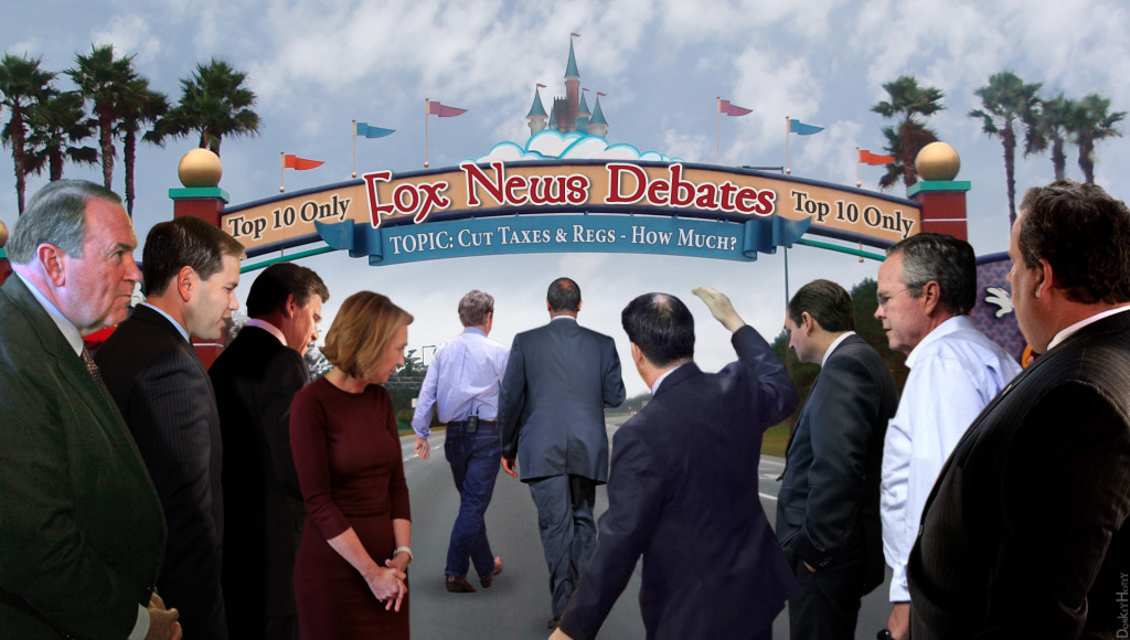 """Photomanipulation showing a Disneyland-like banner that reads, """"Top 10 Only! Fox New Debates! Topic: Cut Taxes & Regs—How Much?"""" The """"top ten"""" candidates are lined up in the foreground, heading for the """"debate."""""""