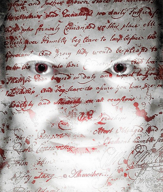 Photo of man with text superimposed over face