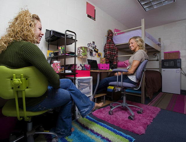 Two women in dorm room