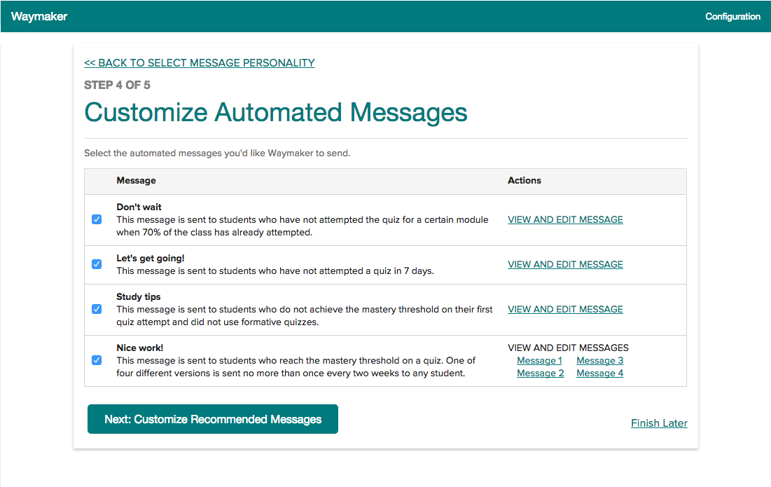 screenshot of waymaker automated message feature configuration