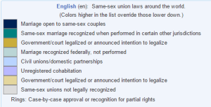 Same-sex union laws around the world.