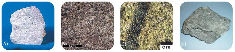 Figure 7. These are photos of A) rhyolite, B) gabbro, C) peridotite, and D) komatiite.