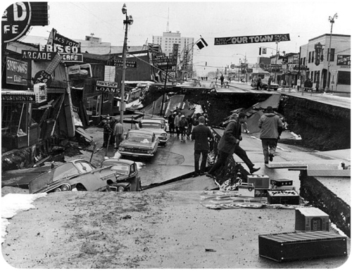 Figure 1. The 1964 Good Friday Earthquake centered in Prince William Sound, Alaska released the second most amount of energy of any earthquake in recorded history.
