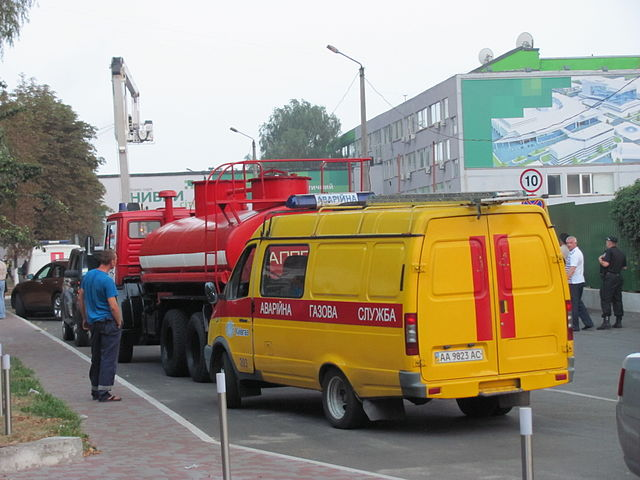 Figure 6. Gas network emergency vehicle responding to a major fire in Kiev, Ukraine