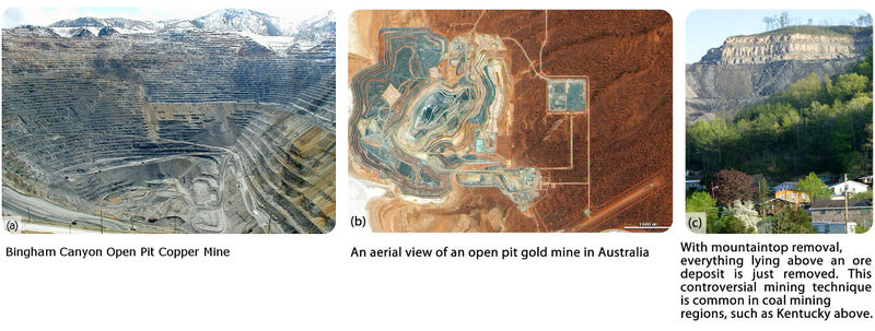 Three part photo: (1) Brigham Canyon open-pit copper mine. (2) An aerial view of an open-pit gold mine in Australia. (3) Mountaintop removal in Kentucky. With mountain top removal, everything lying above an over deposit is just removed. This controversial mining technique is common in coal mining regions.