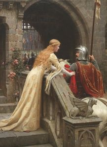 Painting showing a woman in a gold gown with long golden hair leaning over a railing in a castle, touching a knight on horseback holding a flag as he's about to leave the castle gates