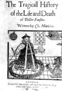 Image of a black and white book cover.  The title appears in Middle English at the top, and at the bottom is a drawing of a man in a robe holding a book and a stick, with a devil emerging from the floor