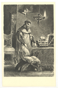 Lithograph of Dr. Faustus, shown in robes with a dark beard, standing and staring down at a skull on top of a pile of books on his desk