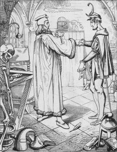Engraving showing a scholar in robes shaking hands with a slim figure in court jester clothing.  They are in a lab surrounded by skeletons, globes, and scientific apparatus