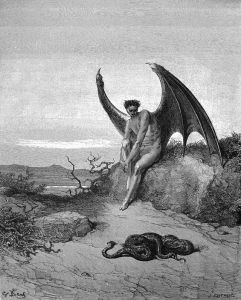 Pencil drawing of a man figure with large black wings and cloven feet, sitting on a rock, staring down at a snake on the ground