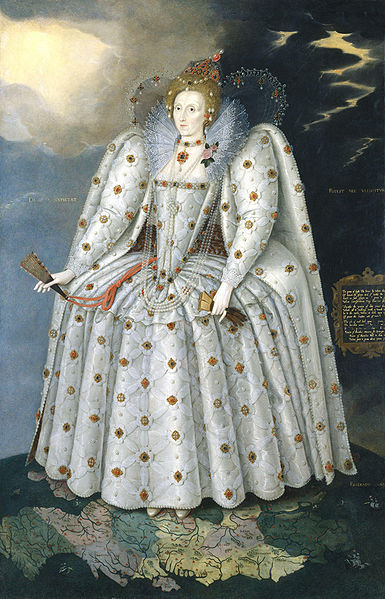 Portrait of Queen Elizabeth I, standing in a white embroidered gown with large bustle and sleeves and small waist, with a high lace collar.  She is holding a folded fan and a pair of gloves, and standing on top of a world map.  Thunder clouds appear over her left shoulder, and breaking sun over her right.
