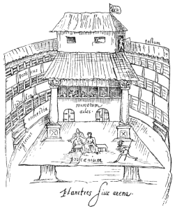 Line drawing of The Swan theater, showing a stage with a three-storied viewing area build all around it