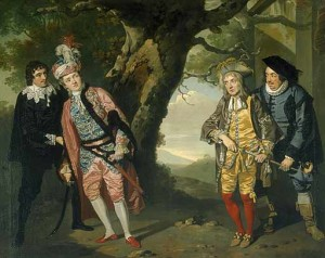 Oil painting depicting four figures in a wooded area.  Viola, dressed in men's clothing, leans into  Fabian on the left; Sir Aguecheek and Sir Belch confer on the right.