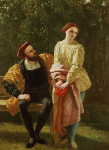 Oil painting of Orsino, seated, and Viola, standing next to him.  Orsino looks up at her, while she looks away from him.