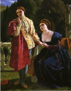 Oil painting of Olivia, seated, and Viola dressed as a man, standing.  Olivia is holding Viola's hand and looking desperately up at her, while Viola has an expression of doubt and looks away from Olivia.