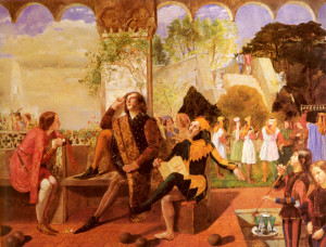 Oil painting of Orsino, seated in an outdoor patio, surrounded by a jester, musicians, and other entertainers.  Viola, dressed as Cesario, gazes up at him from the left. He looks distracted, with a hand in his hair and a casual pose.