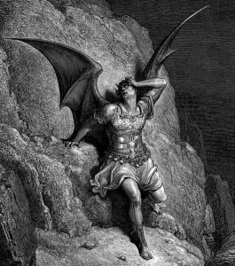 Black and white drawing in lithograph style, depicting Satan as a human figure with large bat-like wings.  He is wearing armor plate, a toga skirt, and sandals.  He leans against a rock cliff, hand to his head, looking distraught.