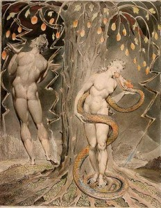 Watercolor painting showing naked Adam and Eve.  Eve is standing in front of the forbidden tree, eating a fruit from the mouth of a large serpent wrapped around her body.  Adam stands on the left, with his back to the viewer, looking up at the fruit and at the lightning striking in the sky.  The colors are gray tones and pale orange in the fruit and the serpent.
