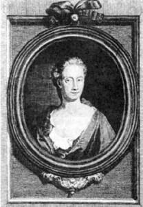 Black and white engraving of Eliza Haywood.  It shows her in bust form in an oval frame. She wears a low scoop-necked dress.  Her hair is long and tied back, appearing behind her shoulder.